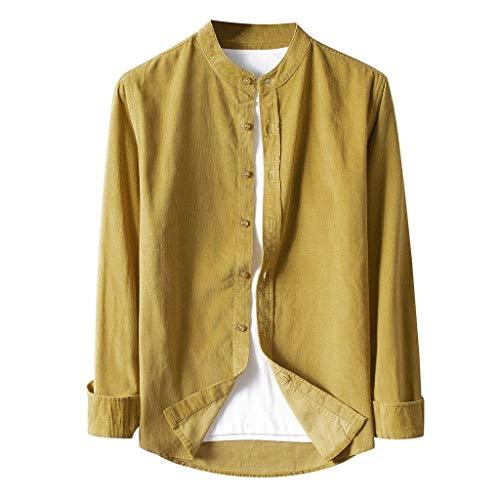 waotier Camisas Casual Chaqueta Hombre Otoño Moda Vintage Pana Camisas Cazadora Casual Manga Larga Botón Color sólido Tops Pana Blusa Casual