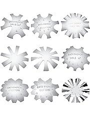 9 Recortadores de Borde de Manicura de Uñas Cortador de Línea de Sonrisa Francesa Herramienta de Cortador de Uñas de Gel Acrílico de Acero Inoxidable Módulo Placa de Línea V con 9 Tamaños