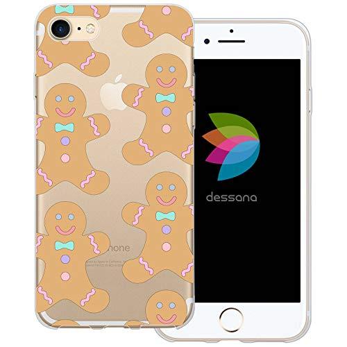 dessana Weihnachten Geschenke transparente Schutzhülle Handy Case Cover Tasche für Apple iPhone 7 Lebkuchen Plätzchen