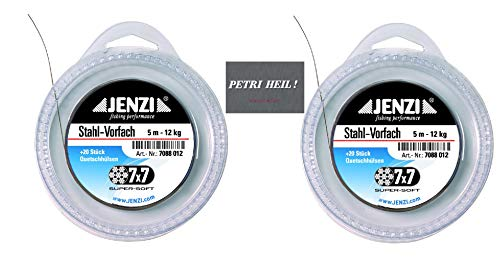 Set: 2 x .Jenzi Stahl Vorfach, Powerflex, 7x7 12kg, mit 20 Klemmhülsen + gratis Petri Heil! Aufkleber