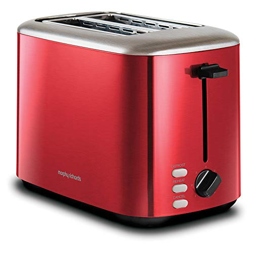 Morphy Richards 222066 Red Equip 2 Slice Stainless Steel Toaster, 800 W, Red