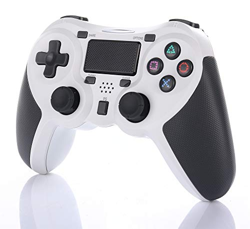 Wisenovo Playstation-4 Dual Shock 4 Controlador inalámbrico con Touchpad, Game Joystick con Dual Shock Vibration y Trigger teclas Controlador PS-4, color blanco.
