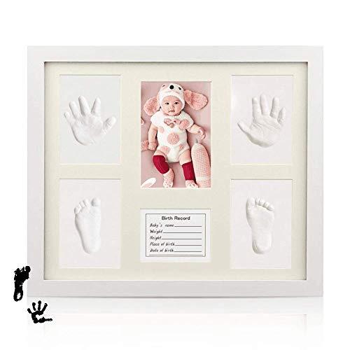 SaponinTree Marco Fotos para Recién Nacido, Kit de Marco para Huella de Pie y Manos del Bebe, Marco de Madera y Cristal Acrílico – Ideal Decoración o Regalo de Baby Shower