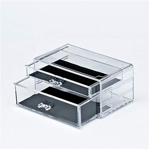 XINGFUQY Acryl-transparenter Kosmetik-Aufbewahrungsbox-Make-up-Organizer doppelte Schublade Overlay-Schmuck große Kapazität Lager-Container-Kommode (Color : Transparent)