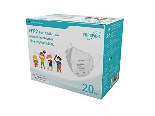 EUROPAPA 20x FFP2 Kinder Maske Mundschutz Masken Atemschutzmasken 5-lagig hygienisch einzelverpackt EU 2016/425