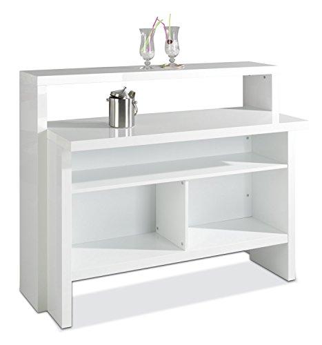 Hausbar Bar Minibar | Dekor | Weiß Hochglanz | B 130 cm x H 110 cm x T 50 cm