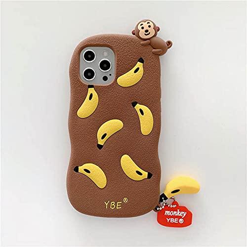 Carcasa de teléfono 3D Cute Cartoon Monkey para iPhone 12 Mini 11 Pro XS MAX X XR 7 8 Banana con Colgante Carcasa Trasera de Silicona Suave, Mono, para iPhone 6 6s