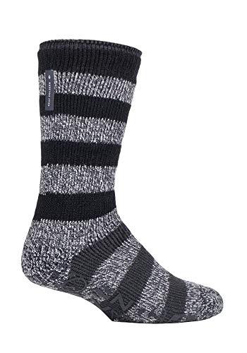 HEAT HOLDERS - Hombre Invierno Antideslizantes Calcetines para Andar por Casa (Raya negra (Oakley), 39-45 EU)