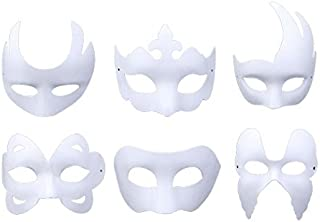 Coxeer White Masks, 6PCS DIY Unpainted Masquerade Masks Plain Halloween Half Face Masks