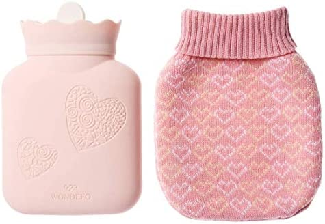 JORDAN JUDY Hot Water Bottle with Knit Cover BPA Free Silicone Hot Water Bag Microwave Oven product image