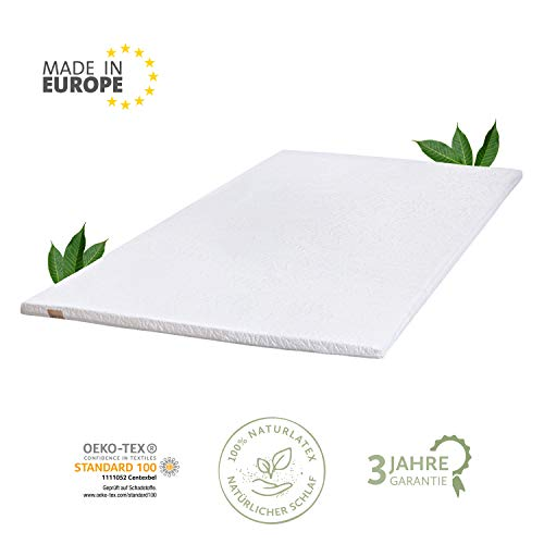 JONA SLEEP Naturlatex Topper 180x200 cm Talalay Latex Matratzen-Auflage Öko-Tex Komfort Matress Pad Gästebett Bett Schoner Allergiker-geeignet Abnehmbarer Waschbarer Bezug