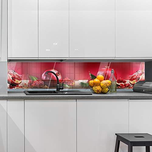 wandmotiv24 Küchenrückwand Granatapfel Rot Obst 240 x 50cm (B x H) - Acrylglas 4mm Nischenrückwand, Spritzschutz, Fliesenspiegel-Ersatz, Deko Küche M1097
