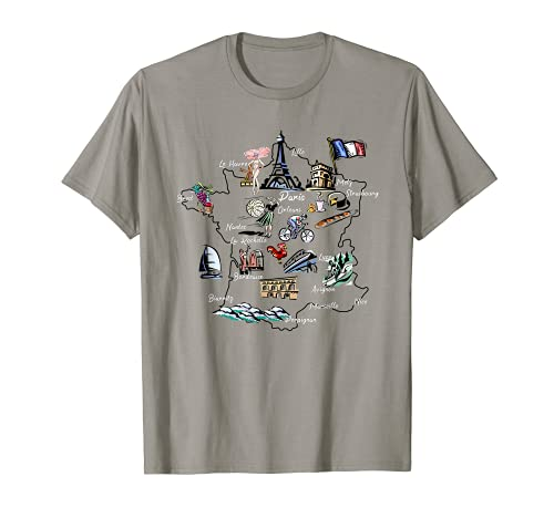 Mapa ilustrado de Francia, monumentos, ciudades importantes Camiseta