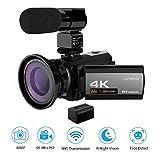 Videocamara 4k WiFi Andoer Grabadora de Videocámara 1080P 48MP 60FPS 30FPS IR Visión Nocturna Cámara Digital,Lente Macro 0.39X,1 Micrófono,Detección de rostros,Anti Shake DSP,3'' Pantalla Táctil