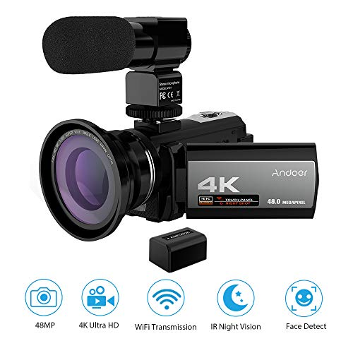 Andoer Caméscope Numerique 4K ave Batterie, Camescope WiFi, Vision Nocturne Infrarouge Full HD...