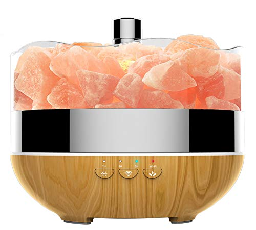 Smart WiFi Essential Oil Diffuser - 400ml Ultrasonic Aromatherapy Diffuser Oil Diffuser Cool Mist Humidifier Aroma Diffuser Himalayan Salt Lamp Include Salt Rock, Works with Alexa for Home Office Yoga