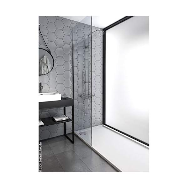 Plato ducha acrílico antideslizante liso modelo Nublo Bricodomo 70×90 Blanco con válvula incluida