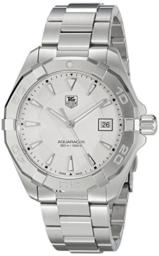 TAG Heuer Men's 'Aquaracer' Quartz Stainless Steel Dress Watch, Color:Silver-Toned (Model: WAY1111.BA0928)