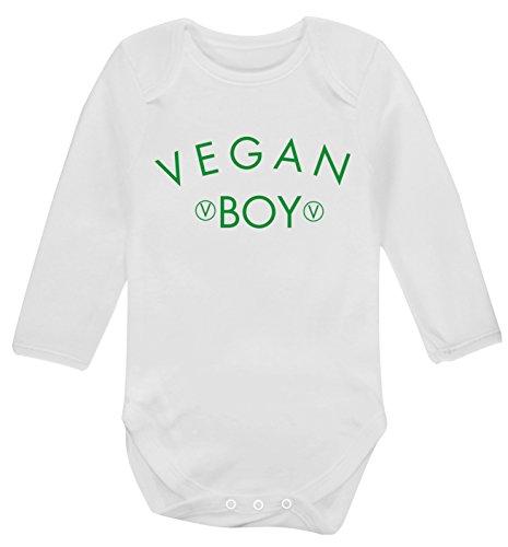 Flox - Body per neonato a maniche lunghe, motivo: Vegan Boy bianco 0-3 Mesi