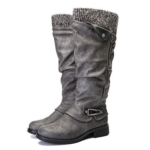 Botas Altas Invierno Mujer, Camfosy Botas de Nieve Caña Ancha Zapatos Mujer Cuña Planos Sintética Peluche Jinete Bajo Cómodos Peludas Calentitas 2019 Negro Gris Marrón