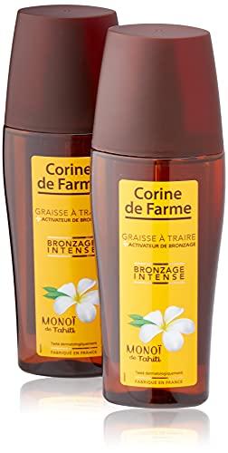 Corine de Farme Spray Graisse à Traire - Graisse à Traire avec Accélérateur de Bronzage et Monoï de Tahiti - Sublime le Bronzage, Hydrate et Apaise la Peau - Sans Paraben - Parfum des îles