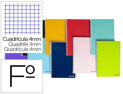 Cuaderno espiral liderpapel folio smart tapa blanda 80h 60gr cuadro 4 mm con margen colores surtidos
