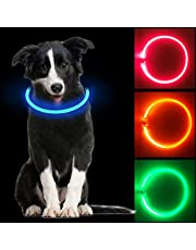 Collare Luminoso per Cani a LED, Ricaricabile Tramite USB, Ultra Luminoso con 3 modalità D'ardore e Misura Regolabile Adatto per Tutti i Cani Gatti