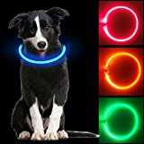 Collare Luminoso per Cani, USB Recargable Collars Luminosos para Perro, Ajustable Recargable Impermeable LED Collar, 3 Modos de LED Perro Collar (Azul)