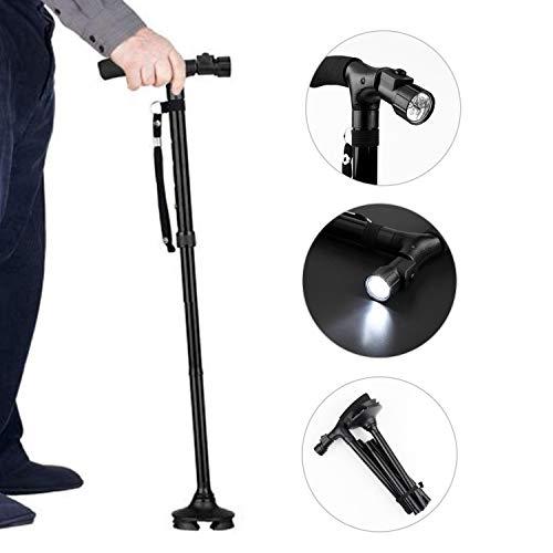 XUANRUI 杖 ステッキ 自立式 LEDライト付き 4点 折り畳み 補助ハンドル 軽量 倒れない 伸縮可能 高齢者 夜間散歩 歩行支援