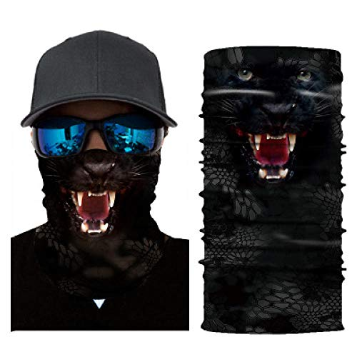 sswyfc 3D digitale bedrukte dier zwart panter creatieve magische hoofdband buisvormige stofdichte gezicht bescherming