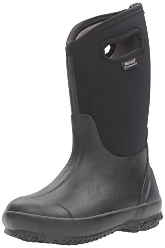BOGS Unisex-Child Classic High Waterproof Insulated Rubber Neoprene Rain Boot Snow, Black, 6 M US Big Kid