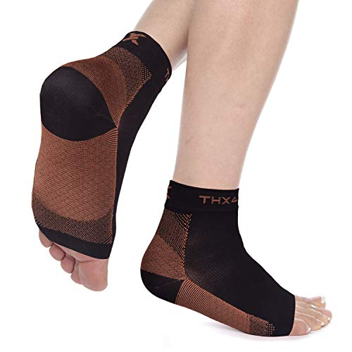 Thx4 Copper Compression Recovery Foot Sleeves for Men & Women, Copper Infused Plantar Fasciitis Socks for Arch Pain, Reduce Swelling & Heel Spurs, Ankle Sleeve with Arch Support-Large