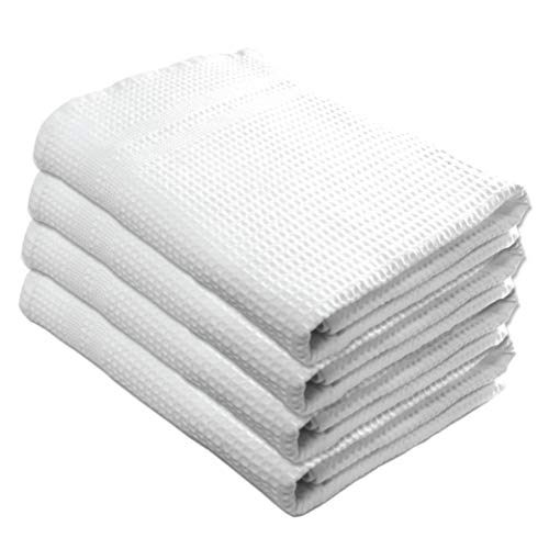Premium Waffle Weave Bath Towels 4 Pc Set 100% Natural Cotton Quick Dry Lint Free Soft Luxurious Fabric Solid Colors Oversized Thin Cloth Fade Resistant (White)