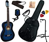 Pack Guitare Classique 4/4 (Adulte) Gaucher Avec 7 Accessoires (bleu)