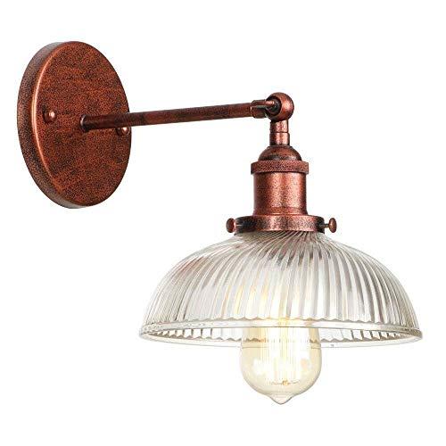 Atmosferische duurzaamheid WDHBD wandlamp antieke radio strepen potdeksel glaskleur wandlamp lampen loft slaapkamer badkamer nacht spiegel verlichting E27 110V-220V (kleur: ijzer rood) Iron Rust