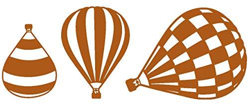 Samunshi® Heißluftballon Wandtattoo Ballon 3er Set in 6 Größen und 19 Farben (25x9,4cm haselnuss-braun)