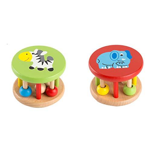 WFF Spielzeug Holz-Baby-Handglocke Rattle Spielzeug Glocke Junge und Mädchen Neugeborene Baby-Grasp Ausbildung Spielzeug zu Beruhigen hörende Kinder Lernspielzeug (Color : Zebra+Elephant)