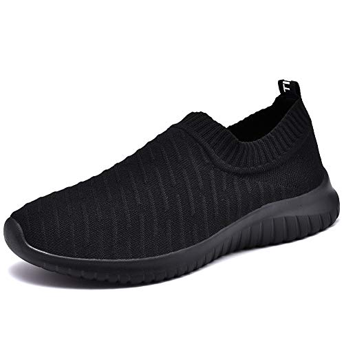 TIOSEBON Women's Walking Shoes Lightweight Mesh Slip-on- Breathable Running Sneakers 6 US All Black