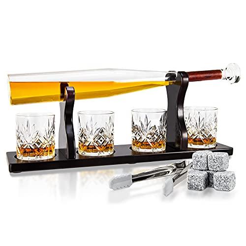 Baseballschläger Whisky Dekanter Set, Whisky Geschenksets für Männer, Spirituosen Dekanter Set mit Holzständer, 750ML Whisky Dekanter mit 4 Whisky Gläsern, Whisky Steinen & Zange für Likör EcoGrowth