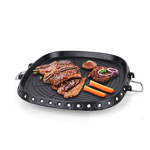 Poêle Grille Non-bâton Ronde pour barbecue sans fumée Torréfaction pour barbecue en plein air intérieur, Faire de délicieux plats rôtis,Noir