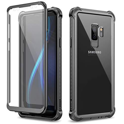 Dexnor Hülle für Samsung Galaxy S9 Plus/S9+ 360 Ganzkörper-Schutzhülle Stoßfest Handyhülle weicher Silikon Griff eingebauter Displayschutz kristallklare Kratzfeste ultradünne Rückseite - Schwarz