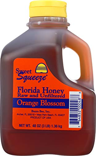 Sweet Squeeze Raw and Unfiltered Orange Blossom Honey - From Florida's Beekeepers, 48 Ounce