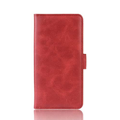 NEINEI Cover Folio in Pelle per Motorola One 5G Ace Custodia,PU/TPU Portafoglio con [Slot per Schede] [Support],Design con Doppia Fibbia Magnetica,Premium Libro Custodie Case,Rosso