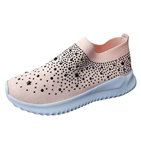 Nevera Sock Sneakers Shoes for Women Casual Fashion Bling Sequins Sneakers Cozy Slip On Flats Shoe Plus Size Pink