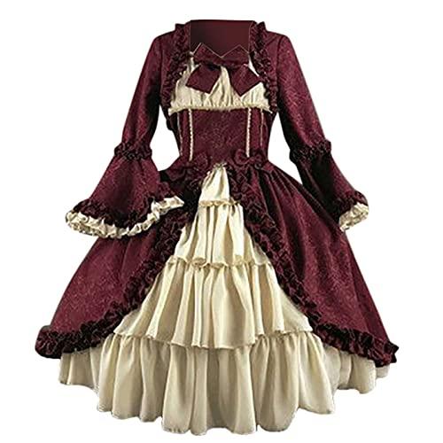 Vestido de manga larga con cuello cuadrado de patchwork y arco de corte gótico vintage para mujer