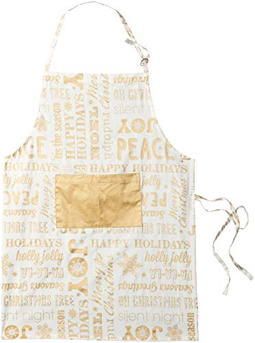 DII Cotton Adjustable Christmas Holiday Kitchen Apron with Pocket and Extra Long Ties, 32 x 28', Men & Women Chef Apron for Cooking, Baking, Crafting, BBQ-Christmas Collage Gold