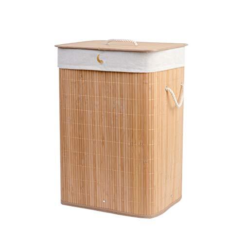 Cesto porta biancheria pieghevole in Bambù con coperchio colore legno naturale con 3 manici in...