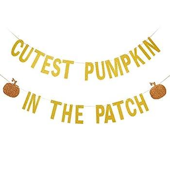 Gold Glittery Cutest Pumpkin In The Patch Banner- Halloween 1st Birthday Decorations,Pumpkin Birthday Party Decorations,Pumpkin Patch Party Decorations,Halloween Birthday Party Decorations
