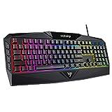 VicTsing Gaming Keyboard, USB Wired Keyboard with Rainbow Backlit and Spill-Resistant Design, Strong Durability, 8 Multimedia Keys, 19 Anti-Ghosting Keys, Ergonomic Wrist Rest Keyboard - Black