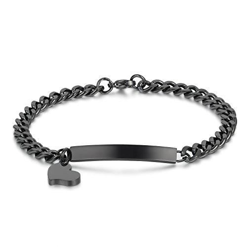 JewelryWe Schmuck Damen Armband Edelstahl Schwarz Link Panzerkette Charmsarmband Armkette mit Herz Anhänger